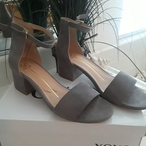 Light grey suede XoXo brand sandals